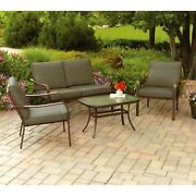Outdoor Seating Area Cushioned Patio Loveseat Set Deck Chairs Glass Top Brown 4