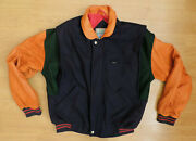 Menand039s Small Benchwarmer Coat Bomber Navy Blue Wool Blend Leather Jacket R12-10