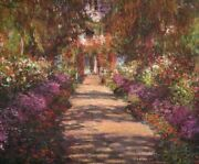A Lane In Monets Garden Giverny Ii By Claude Monet Floral Landscape Art 18x22 ❤