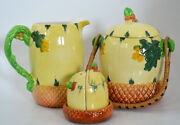Burleigh Ware Burgess And Leigh Ltd English Pitcher Barrel And Condiment Set 1940s