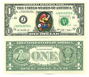 Super Mario Bros - Real Ticket From 1 Dollar Us Collection Game Nintendo 2