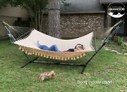 Ingalex Double Size 450 Pound Hammock With Wooden Spreader Bar And Hanging Strap