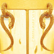 Vintage Style 5.87ct Real Old Mine Rose Cut Diamond Silver Snake Earring Jewelry