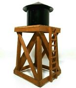 Vint Hand Made Black Enamel Tin Water Tank On Wood Truss W/ladder For Toy Train