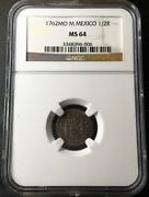 ¡¡ Uncirculated Silver 1/2 Real Carlos Iiii Year 1762. Mexico Mint Ngc Ms64