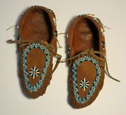 Beautiful Beaded Native American Indian Hide Moccasins - Early 1900s