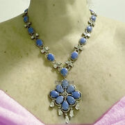 9.80cts Rose Antique Cut Diamond Turquoise Silver Vintage Style Necklace Jewelry
