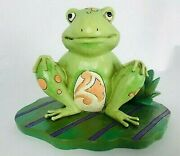 Jim Shore Heartwood Creek Frog Figurine - Bounce With Me - Frog On A Lily Pad
