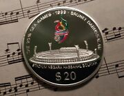 Brunei 20 1999 Km72 Ag.999 62.2g 20th Sea Games Proof Minted 500 Extremely Rare
