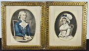 Pair Of 18th Century Husband And Wife Watercolor Portraits In Gold Frame