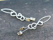 Natural Citrine Earrings Treble Clef Music Sterling Silver 13th Anniversary