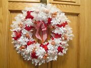 Vintage Christmas Wreath White Plastic Red Candy Cane Stripe Bow 18