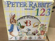 New Peter Rabbit Wedgwood 123 Cup Bowl Plate Set + Soft Plush Doll And Book