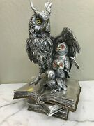 Silver Plated Bronze Statue - Owls On Books, Made In Italy