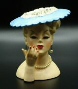 Vtg 1958 Napco Woman Head Vase Blue Hat Pearl Earrings And Necklace 5 1/2 C3307a