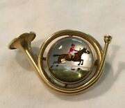 Victorian 14k Gold Cookand039s Crystal Intaglio Hunting Horn Brooch