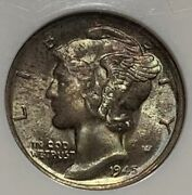 1945-s Mecury Dime Ngc Ms68 Pq Soft Greens Purple Teal And Pinks Look @ Bands