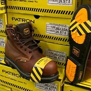 Menand039s Work Boots Brown Steel Toe Genuine Leather Lace Up Safety Comfortable 57s