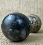 Set Of 2 Marble And 1 Wood/ivory Decorative Paperweight Balls Orbs Spheres