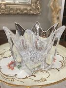 Orrefors Crystal Glass Tulip Flower Candy Dish Bowl Signed.