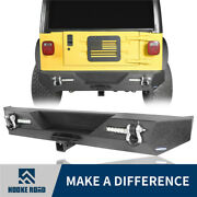 Fast Shpping Rear Bumper W/led Lights Textured For 1987-2006 Jeep Wrangler Yj Tj