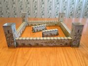 Double Sided Toy Fort Stone Tower Tin Metal Walls Wood Inserts Incomplete Lot