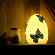 Easter Decorations Handmade Real Wax Egg W/ Painted Butterfly Battery Led Light