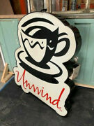 4.25 Ft Tall Advertising Coffee Shop Unwind Commercial Sign Lights Up Led