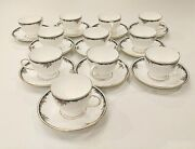 Wedgwood Osborne Leigh Shaped Footed Cup And Saucer 11 Cups 12 Saucers