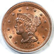 1852 N-8 R-2 Pcgs Ms 64 Rb Braided Hair Large Cent Coin 1c