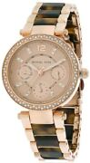 Mk5841 Mini Parker Womenand039s Crystal Tortoise And Rose Gold Watch New