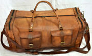 New Brown Vintage Genuine Leather Goat Hide Travel Luggage Duffle Gym Bags