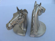 Horse Head W/bridle Bookends Pmc 89b Craftsman Quality Brass Metal Pewter Finish