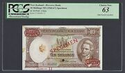 New Zealand 10 Shillings Nd1960-67 P158ds Specimen Tdlr N13 Uncirculated