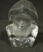 Vtg Viking Glass Frosted Clear Norsk Fishermans Head Figurine / Paperweight