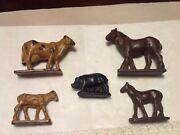 Lot Of Five Older Vintage Auburn Rubber Farm Animals Horses Cows And Pig
