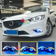 Led White+yellow Drl Blue Cob Angle Eye Projector For Mazda 6 Atenza 20142016