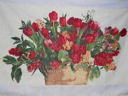 Completed Embroidered Cross Stitch - Bouquet Of Red Tulips 44.9 X 26.7 Inches