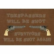 Sb3063plmt Trespassers Will Be Shot Fabric Placemat Multicolor