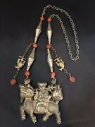 Qing Dynasty Antique Silver Qilin Pendant And Necklace