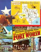 Tx Texas Map And Fort Worth Large Letter Longhornb-36street Scene 2 Postcards