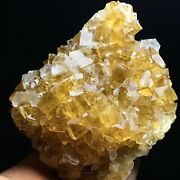 457g Gold Yellow Cube/white Flake Fluorescent Calcite Crystal Mineral Specimen