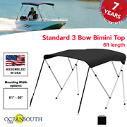 Oceansouth Bimini Top 3 Bow Boat Cover Black 61-66 Wide 6ft Long W/ Rear Poles