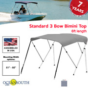 Oceansouth Bimini Top 3 Bow Boat Cover Gray 61-66 Wide 6ft Long W/ Rear Poles