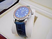 Mint Gevril Menand039s S0111 Blue Dial Swiss Quartz Leather Watch With Box. 1119