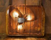 Vintage Antique Industrial Cage Fan Light Steampunk Edison Wall Lamp Patina