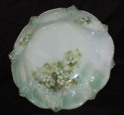 Rs Prussia Floral Adorned Three Inch Tall 10-1/2 Round Bowl Light Green Luster