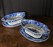 Pair Of Pearlware Baskets And Stands And039piping Shepherdand039 Pattern C.1815