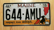 Real Maine State License Plate Animal Cat Dog Adopt Auto Car Tag 644 Amu Pets