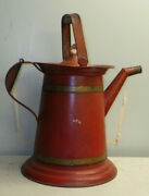 Antique Red Tole Painted Pitcher Covered Water Kerosene